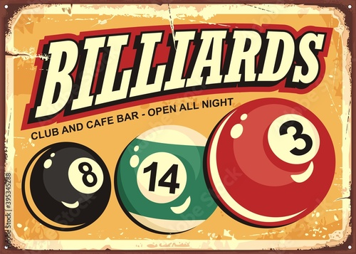 Billiard club and cafe bar retro sign idea with colorful snooker balls Fotobehang