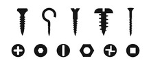 Screw Nut Bolt Silhouette Collection. Vector Blat Tools Set.