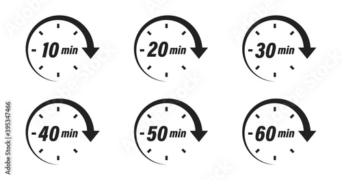 Obraz Minute timer icon collection. Vector time clock or stopwatch set. - fototapety do salonu