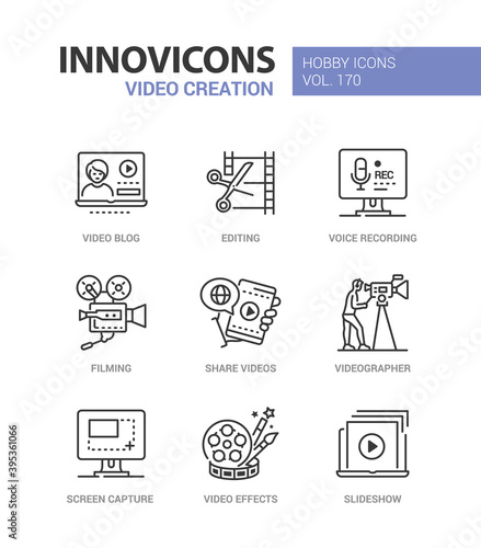 Canvas Video creation - line design style icons set