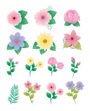 Bundle Of Fourteen Beautiful Flowers And Leafs Decorative Icons Vector Illustration Design
