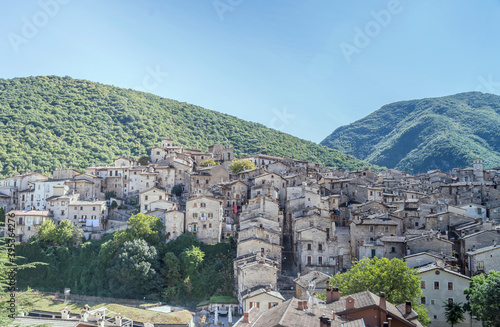 Fotomural Scanno hilltop town, Abruzzo, Italy