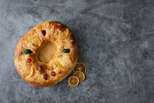 Kings Cake, Roscon De Reyes, Spanish Traditional Sweet To Eat In Chistsmas