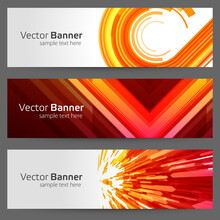 Geometric Banner From Abstract Particles And Round Shapes Vector Template. Red Curved Dynamic Design With Yellow Spiral Transition.