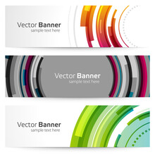 Round Geometric Banner With Techno Shapes Vector Template. Abstract Orange Disc Design With Green Dynamic Rings.