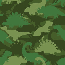 Dinosaur Khaki Army Pattern. Camouflage Seamless Texture With Dino In Green Colors. Perfect Fashion Print For Childish Fabrics And Apparel.