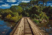 Wooden Bridge Over Creek In A ...