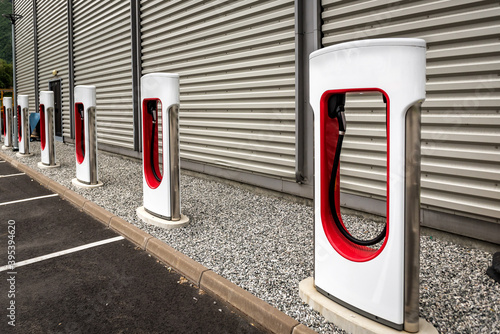 Fotografía The electric charging station for electric vehicles