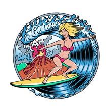 Surfing T-shirt Vector Designs.Volcano And Blonde Surfer Girl. Vector Illustration.