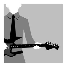 Man In Uniform With A Guitar. Black And White Vector