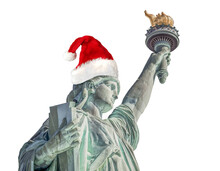 Statue Of Liberty With Santa Claus Hat Isolated On White Background. Graphic Resource.