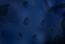 Dark BLUE Vector Background With 3D Cubes, Cylinders, Spheres, Rectangles.