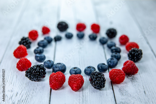 fresh berries laid out in a circle Wallpaper Mural