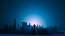 Panoramic Night View Of Lower Manhattan And Financial District. Sunrise Over The Skyscrapers Of New York City. 3d Render