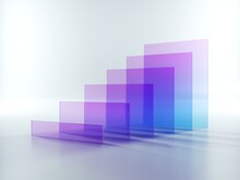 3d Render, Abstract Background With Row Of Violet Blue Square Translucent Glass Shapes Isolated On White
