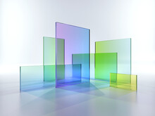 3d Render, Abstract Geometric Background, Translucent Glass With Colorful Gradient, Simple Square Shapes