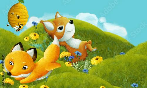 Fototapeta premium cartoon scene with forest animal on the meadow having fun - illustration
