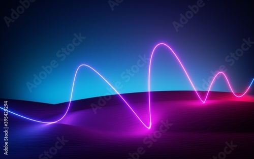 Foto 3d render, abstract modern minimal neon background