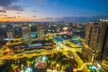 Skyline Of New Taipei City And Railway Station In Taiwan