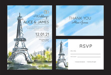 Watercolor Wedding Invitation Card With Eiffel Tower Illustration, Paris