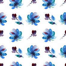 Seamless Abstract Floral Pattern With Blue, Green Flowers, Leaves, Buds, Splashes Isolated On White. Floral Background For Wrapping Paper, Women's Fabric, Wallpaper. Modern Watercolor Illustration.