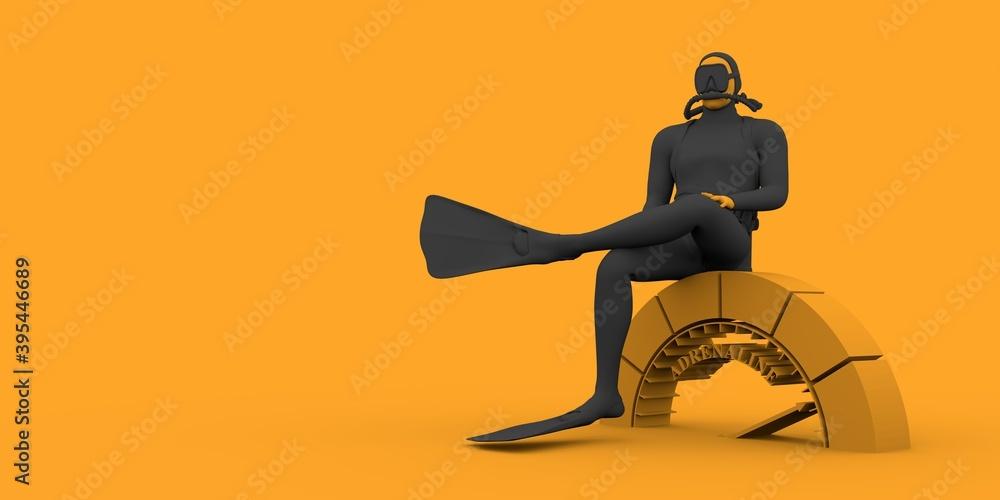 Fototapeta The concept of sport diving. Diver sit on adrenaline level indicator. 3D rendering.