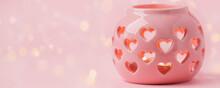 Decorative Pink Ceramic Lanter...