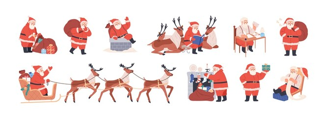 Panel Szklany Wenecja Set of xmas Santa Claus character riding reindeer sleigh, carrying bag with presents, putting gifts into merry christmas socks, writing letters. Flat vector illustration isolated on white background