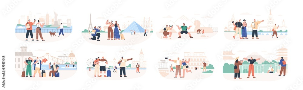 Fototapeta Set of traveling people visiting famous city landmarks and attractions. Collection of tourists going sightseeing, taking photos selfies at popular places. Flat vector illustration isolated on white