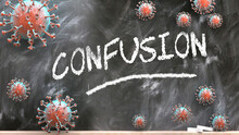 Confusion And Covid Virus - Pandemic Turmoil And Confusion Pictured As Corona Viruses Attacking A School Blackboard With A Written Word Confusion, 3d Illustration