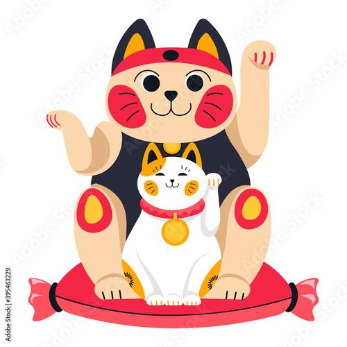 Obraz Japanese or chinese cats symbol, animal statuette - fototapety do salonu