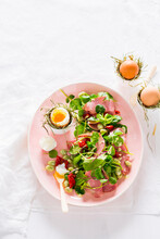 Salad With Fava Beans, Dried Tomatoes, Ham And Soft-boiled Eggs