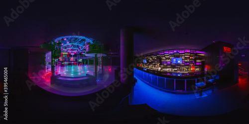 GRODNO, BELARUS - MAY, 2013: Full seamless hdri 360 panorama in stylish nightclub with neon spotlights in equirectangular spherical projection VR content