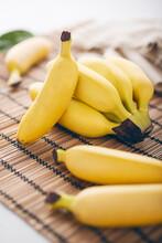 Mini Bananas On A Bamboo Mat