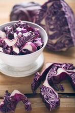 Red Cabbage, Partly Cut Into Strips