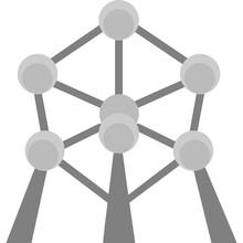 Atomium, Brussels, Belgium, Panorama Fully Editable Vector Icons