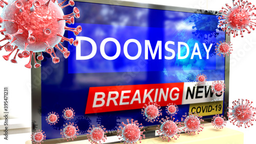Fotografia Covid, doomsday and a tv set showing breaking news - pictured as a tv set with c
