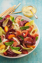 Late Summer Salad Of Stone Fruit Radiccioand Proscuitto
