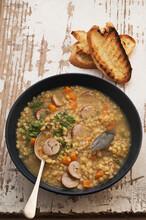 Split Pea And Lentil Soup With Sausage Dumplings