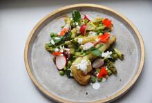 Asparagus Salad With Radishes, Peas And Nasturtium Flowers