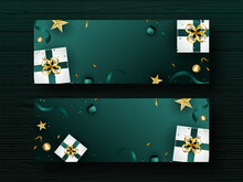 Top View Of Realistic Gift Boxes With Golden Stars, Balls Or Pearls And Confetti Ribbon Decorated Teal Green Background In Two Options.