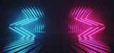 Fototapeta Do przedpokoju - Neon Sci Fi Glowing Arow Pointers Lines Fluorescent Retro Purple Blue Lights On Striped Metal Futuristic Glossy Surface Empty Space Stage Cyber Club 3D Rendering