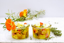 Pickled Manchego With Herbs, Lemon, Jalapenos And Garlic