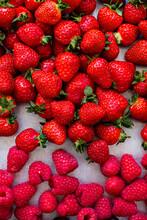 Fresh Strawberries And Raspberries