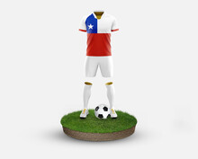 Chile Soccer Player Standing On Football Grass, Wearing A National Flag Uniform. Football Concept. Championship And World Cup Theme.