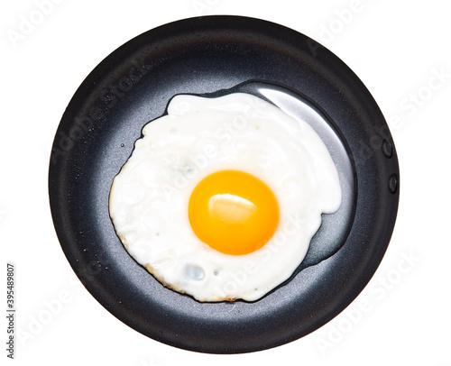fried chicken egg in a frying pan on a white background Billede på lærred