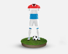 Luxembourg Soccer Player Standing On Football Grass, Wearing A National Flag Uniform. Football Concept. Championship And World Cup Theme.