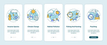 Environmental Damage Onboarding Mobile App Page Screen With Concepts. Ecology. Biodiversity Loss Walkthrough 5 Steps Graphic Instructions. UI Vector Template With RGB Color Illustrations