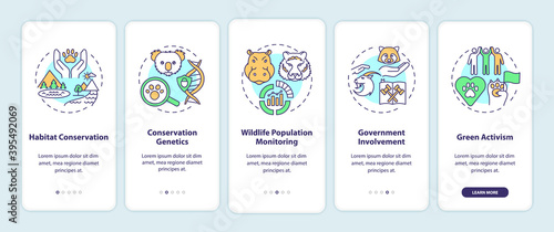 Preserve nature onboarding mobile app page screen with concepts. Habitat conservation. Environment protection walkthrough 5 steps graphic instructions. UI vector template with RGB color illustrations