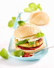 Vegetarian Vegetableburger With Pesto Rosso,  Mozzarella And Basil